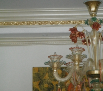 Crown moulding finish to match chandelier