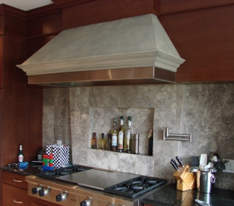 Stone finish on range hood