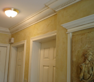 Textured walls with glaze finish on walls and trims