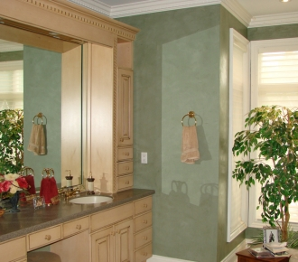 Venetian plaster in a soft green