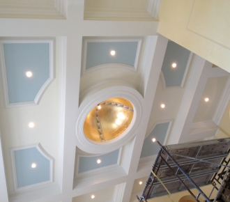 venetian plaster, gold leaf dome coffered ceiling