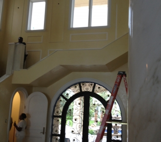Venetian plaster walls and ceiling