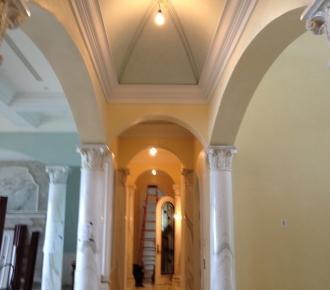 venetian plaster walls, faux painted ceiling